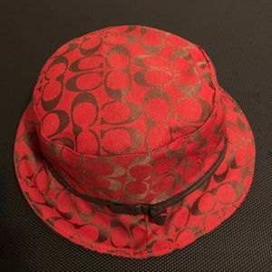 Coach Red Bucket Hat Logo Monogram